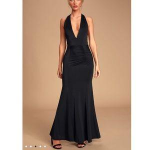 NWT LULUS Black Ruched Halter Maxi Dress